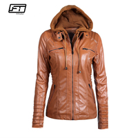 Fitaylor 2018 New Women Autumn Winter Hooded Faux Leather Jacket Slim Motorcycle Hat Detachable Plus Size