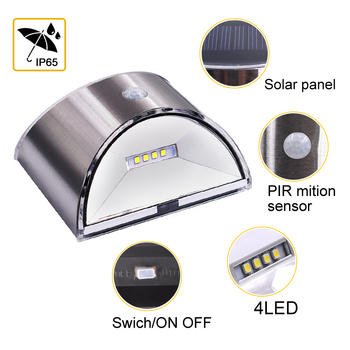 LED Solar Light PIR Motion Sensor Waterproof Outdoor Wall Lights Stainless Steel Shell Lighting For Garden Home Use New 4