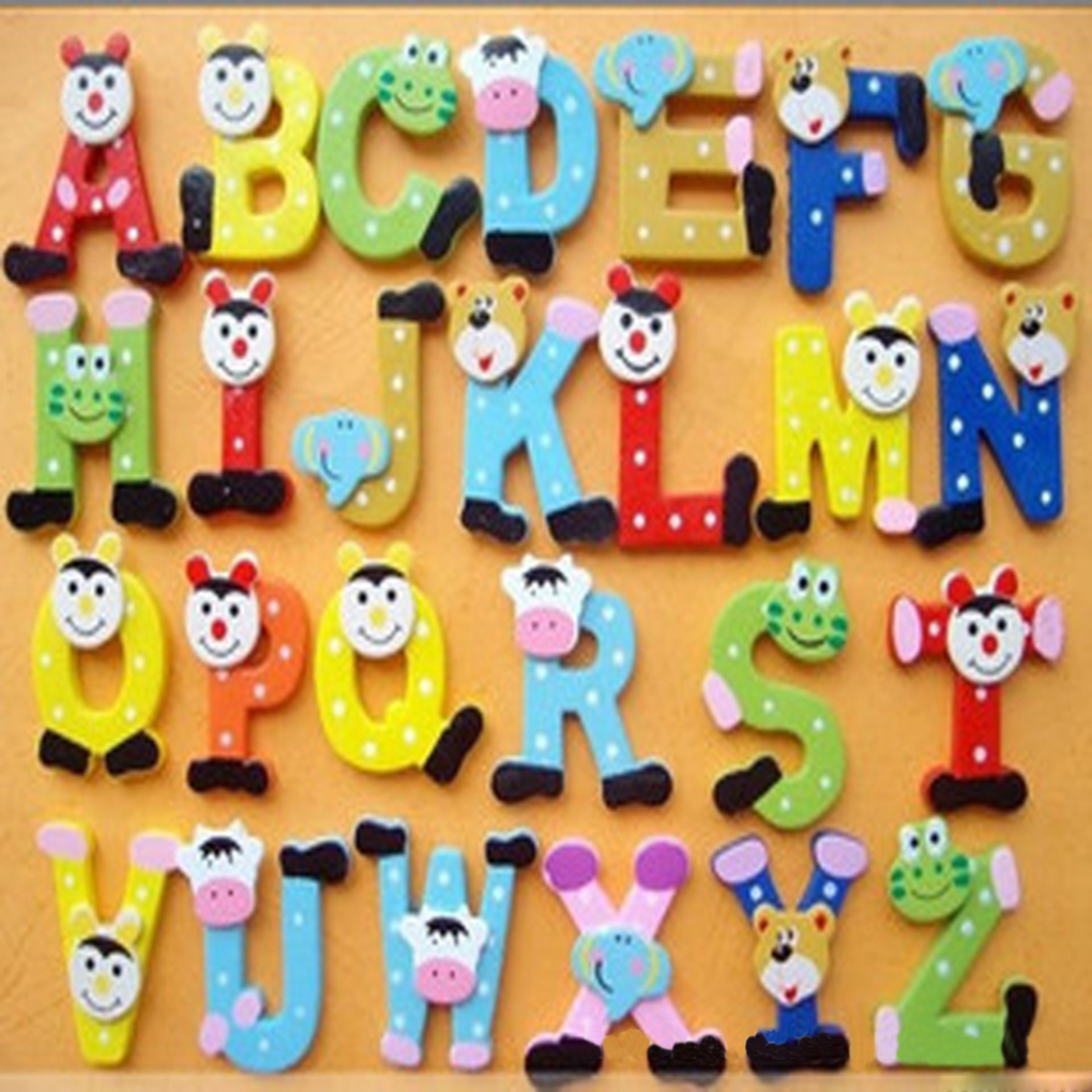 26pcs Alphabets Wooden Fridge Magnets Refrigerator Decoration Baby Kids Learn Toys Set
