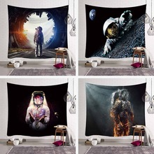 Science Fiction 3D Spaceman Tapestry Wall Hanging Sci-Fi Astronaut Aerospace Hippie Living Room Decor Yoga Mat Beach Throw Rug