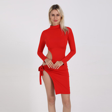 New High-necked Waistband Hollow Split Straps Sexy Long-sleeved Dress Slim Package Hip Night Club Dress