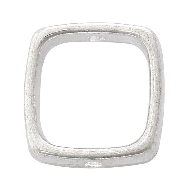 DoreenBeads Zinc Metal Alloy Beads Frames Rectangle Silver Plated (Fits 10mm Beads) 14mm( 4/8