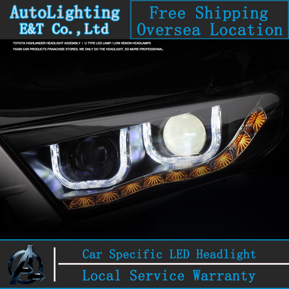 Car Styling LED Head Lamp for Toyota Highlander led headlight assembly 2012-2014 signal led drl H7  with hid kit 2pcs.