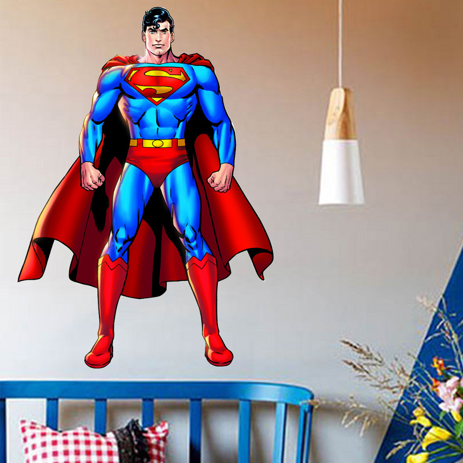 Popular comic decals buy cheap comic decals lots from for Superman wall decal