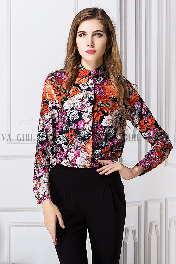 2737ac6f5aff2 2015 grandes flores retro blusa de impresión más el tamaño mujeres camisetas  de manga larga camisa de gasa solapa en Blusas y camisas de La ropa de las  ...