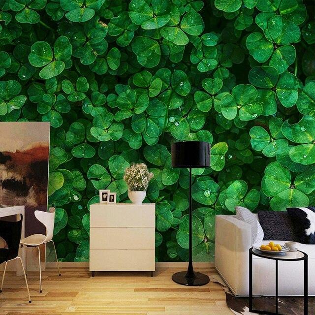 Kustom Lukisan Dinding Wallpaper Hijau Clover Foto Ruang Tamu Kafe Restoran Latar Belakang