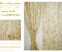 Eco freindly Hot stamping process high quality gold rose curtain yarns tulles window screen& stain fabric curtains can customize