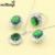925 de Las Mujeres de Plata Joyería de Moda Set, verde Esmeralda Sintética Cristal Blanco Espumoso Anillo Pendientes Collar Hecho en China
