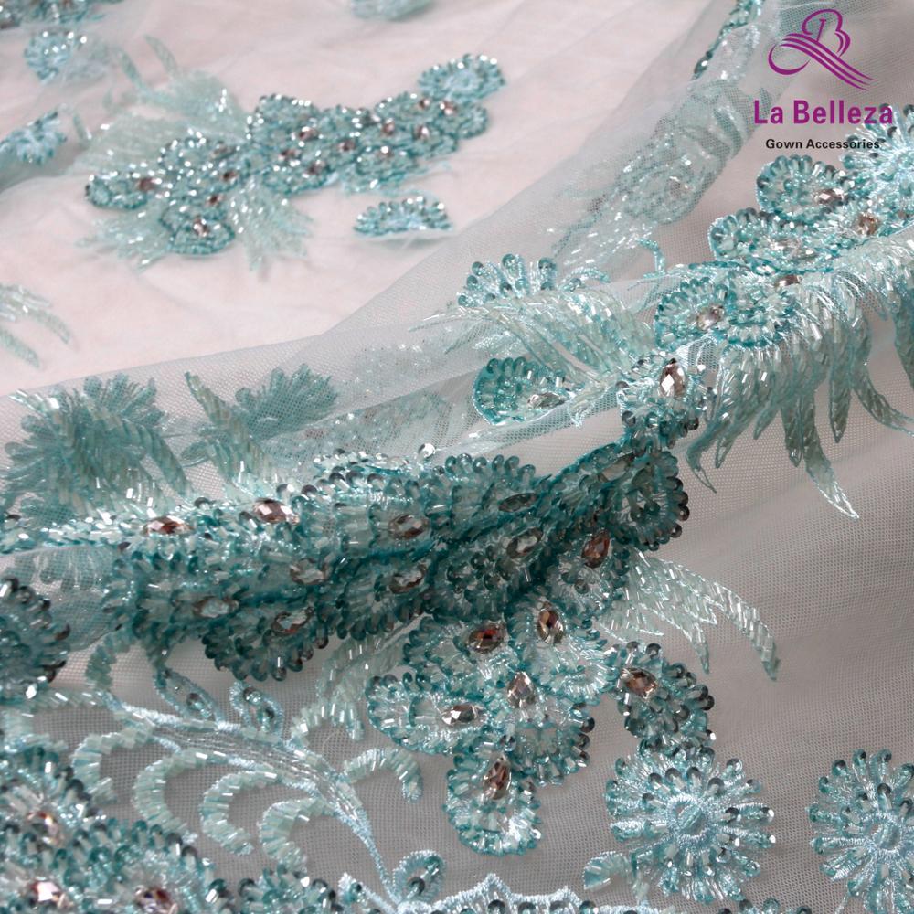 La Belleza 1 yard mancanza verde pesante in rilievo stones in rilievo fatti a mano magia di paillettes da sposa/abito da sera in pizzo tessuto 47 ''width-in Tessuto da Casa e giardino su  Gruppo 2