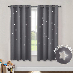 Image 2 - MAKEHOME Hollow Stars Blackout Curtains for Kids Bedroom Living Room Three Layers Fabrics Window Curtains Home Decor Stars Tulle