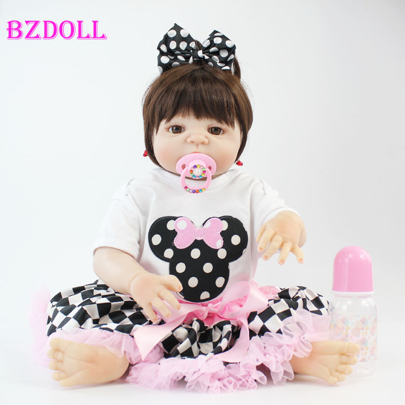 55cm Full Body Silicone Reborn Baby Doll Toy Lifelike 22 Soft Vinyl Newborn Princess Babies Girl