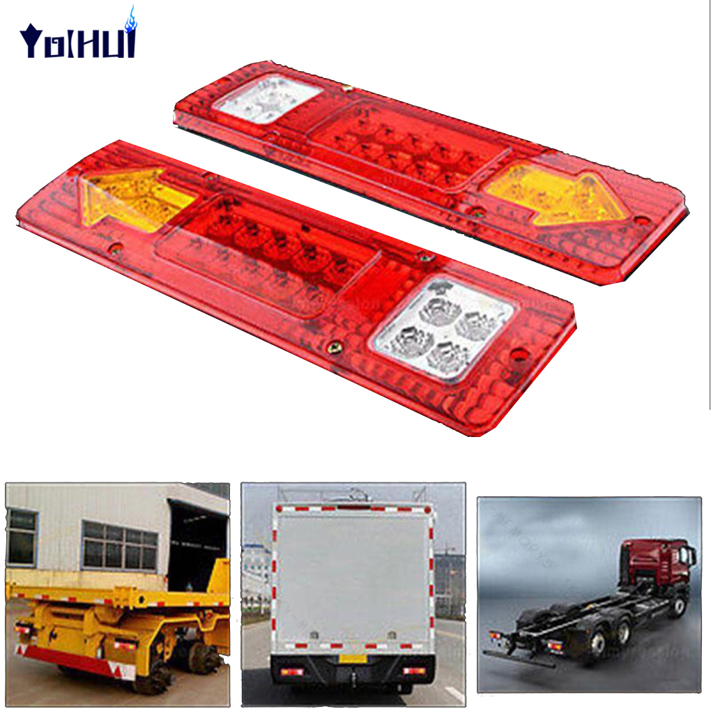 2pcs 19 LED Waterproof Trailer Tail Lights LED Rear Turn Signal Truck Trailer Lorry Stop Indicator Lamp 2pcs 20 led car truck red amber white led trailer waterproof tail lights turn signal brake light stop rear lamp dc 12v cy798 cn
