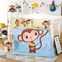 10PCS Set 120x65cm Newborn Baby Crib Bedding Set For Girl Boys Cartoon Cotton Bedding Set Bumper