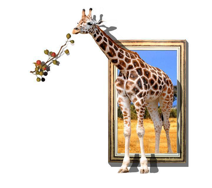 giraffe printed 3d oil paintings on canvas walls art animals posters ...