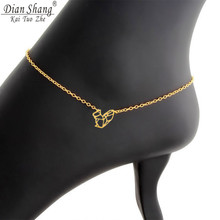 DIANSHANGKAITUOZHE Cute Animal Jewelry Gold Color Stainless Steel Leg Chain Simple Hollow Saqirrel Anklet Bracelets for Women