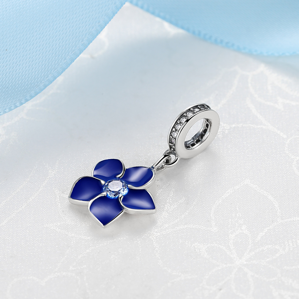 Authentic 100 925 sterling silver enamel blue flower charm pendant authentic 100 925 sterling silver enamel blue flower charm pendant beads fit pandora bracelet necklace for women fine jewelry in beads from jewelry izmirmasajfo