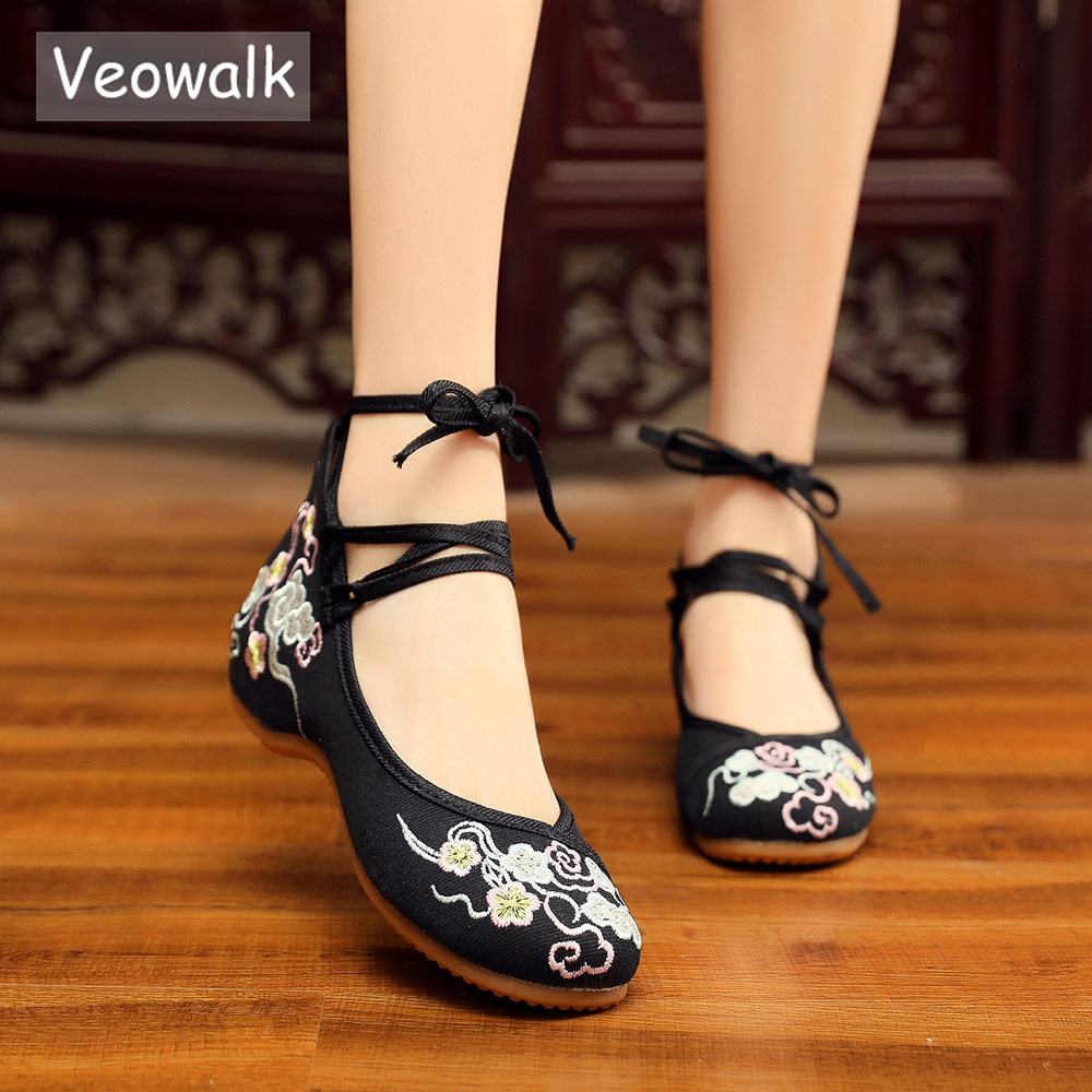 Veowalk Ankle Strap Women Canvas Embroidered Ballet Flats Chinese Style Ladies Casual Walking Shoes Comfort Cotton Ballerinas