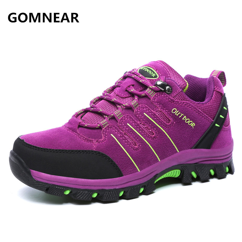 ФОТО GOMNEAR New Arrival Women Autumn Winter outdoor hiking shoes Damping comfortable non-slip wear-resisting Trekking walking shoes