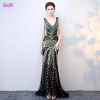 Brilliant Transparent Mermaid Prom Dresses Long 2018 Sexy Party Evening Gowns V Neck Crystal Beading Zipper Formal Prom Dress