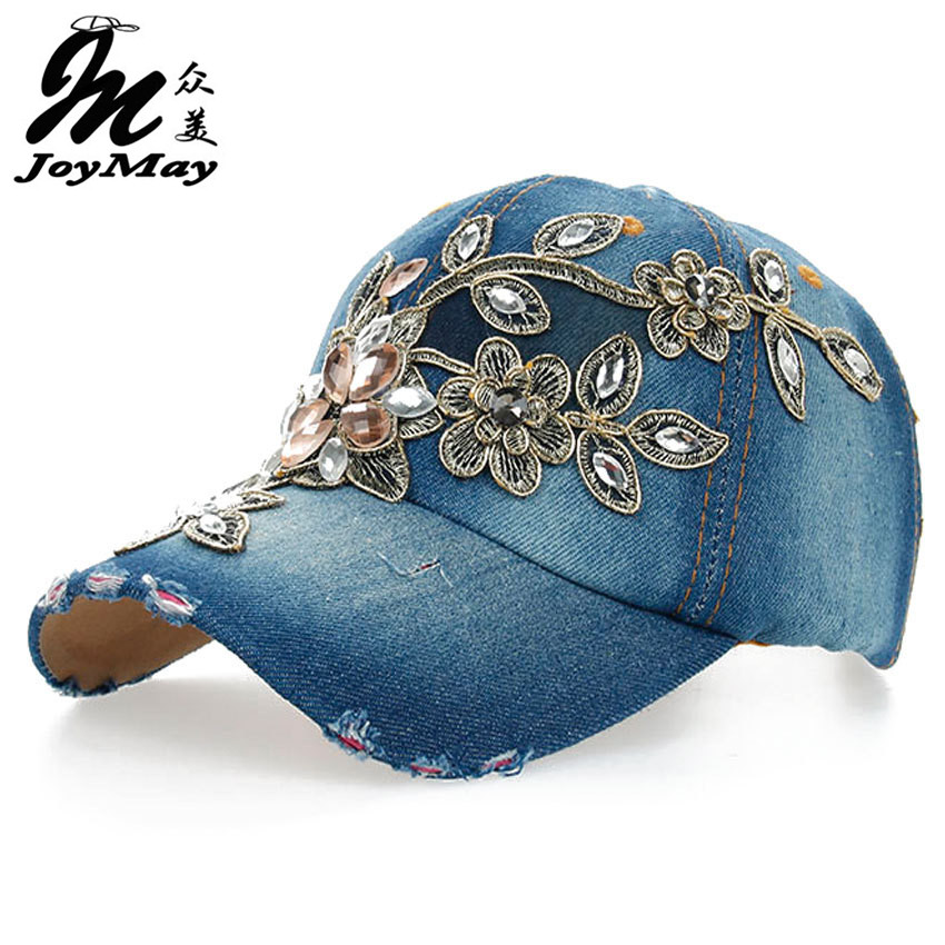 2016 New Top Design Adjustable Baseball cap Fashion Leisure Rhinestones Flowers Jean Snapback Baseball Hat Cap For Women B038 cntang brand summer lace hat cotton baseball cap for women breathable mesh girls snapback hip hop fashion female caps adjustable