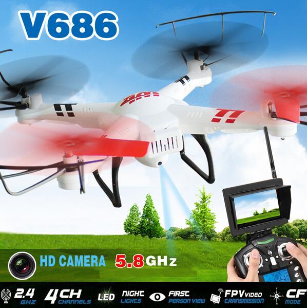 Wltoys V686 5.8G FPV Live 720P Video with 2MP HD Camera 2.4G 4CH 6-Axis GYRO RC Quadcopter VS JJRC H9D Hubsan H107D Ar.Drone jjrc h37 mini h37mini rc quadcopter drones with 720p camera hd helicopter 4ch 6 axis gyro wifi fpv vs h36 christmas gifts toys
