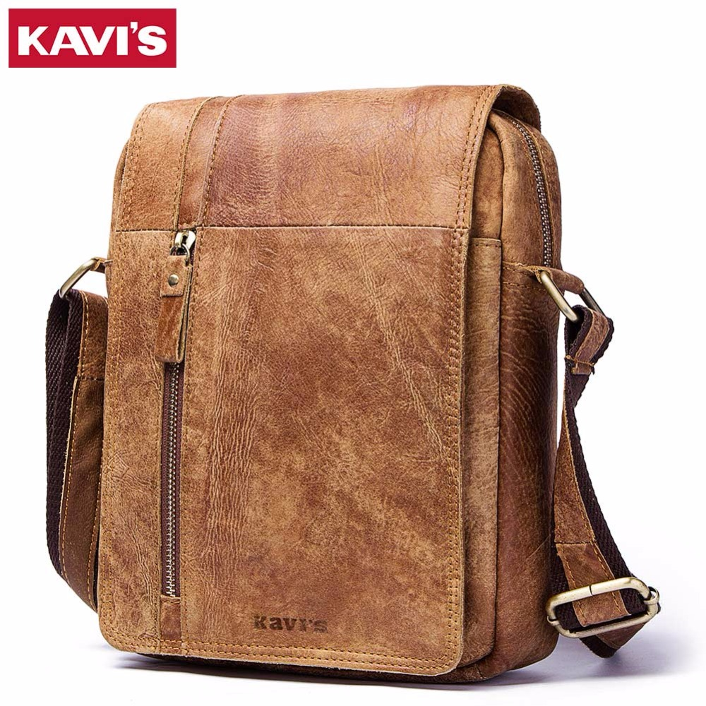 KAVIS HOT!! 2018 Genuine Leather Messenger Bags Men High Quality Bags Small Travel Brand Design Crossbody Shoulder Bag For Men baillr brand genuine leather high quality business men s bag messenger bags men leather crossbody shoulder bag men travel bags