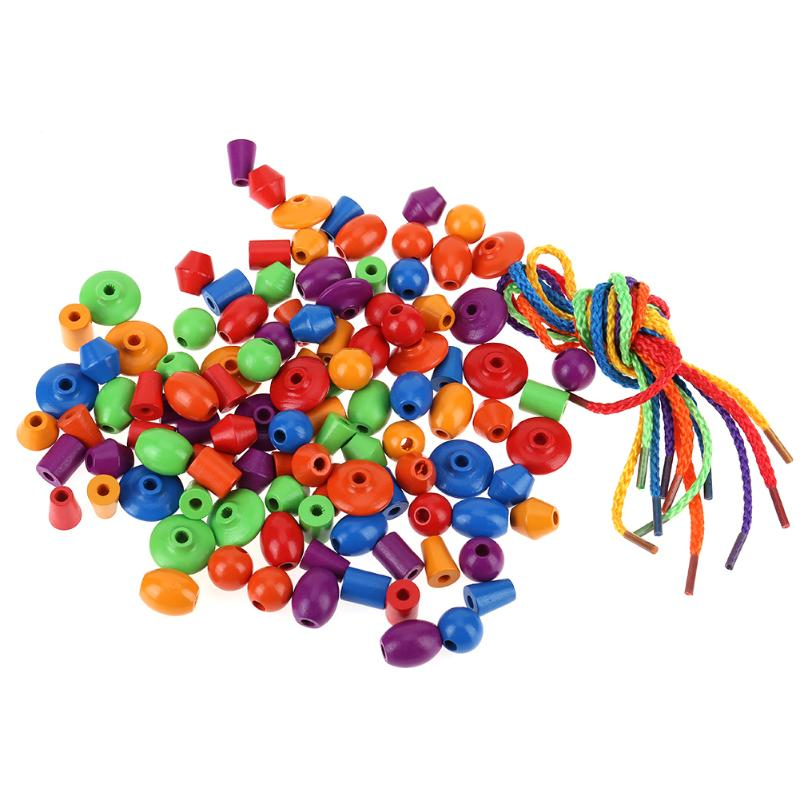 108pcs/lot Wood Beads Kids DIY Rope Stringing Beads Early Education Wood Beads Ropes Baby Toys Crafts Ideal Birthday Xmas Gifts