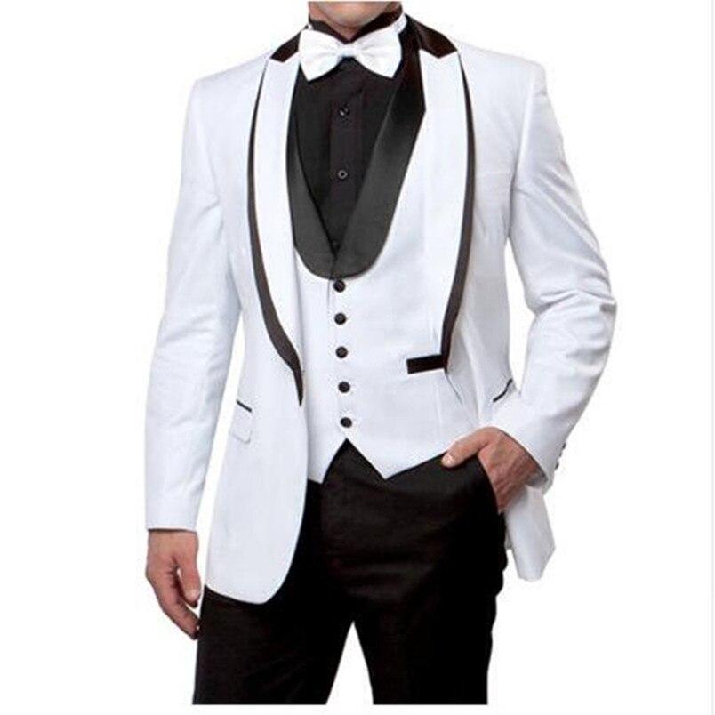 3 pièces Tailorcoat mariage costume angleterre Style doux blanc formel Tuxedos costumes Blazer ensemble sur mesure (veste + pantalon + cravate + gilet)