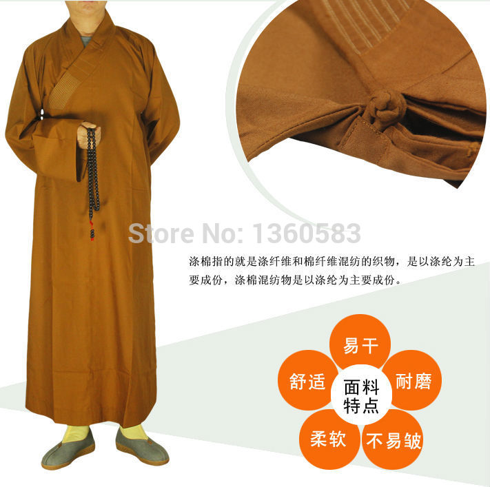 Buddhism Buddhist monk robes male cotton and Polyester clothing kung fu frock monk suit long robes gown haiqing Shaolin Clothes new pure linen retro men s wing chun kung fu long robe long trench ip man robes windbreaker traditional chinese dust coat