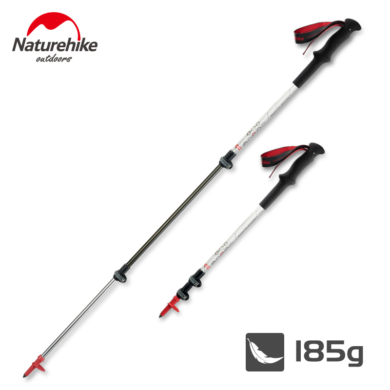 Naturehike Carbon Fiber + Aluminum Alloy Walking Stick Pole Lightweight Camping Trekking Pole Hiking Stick Cane about 185g