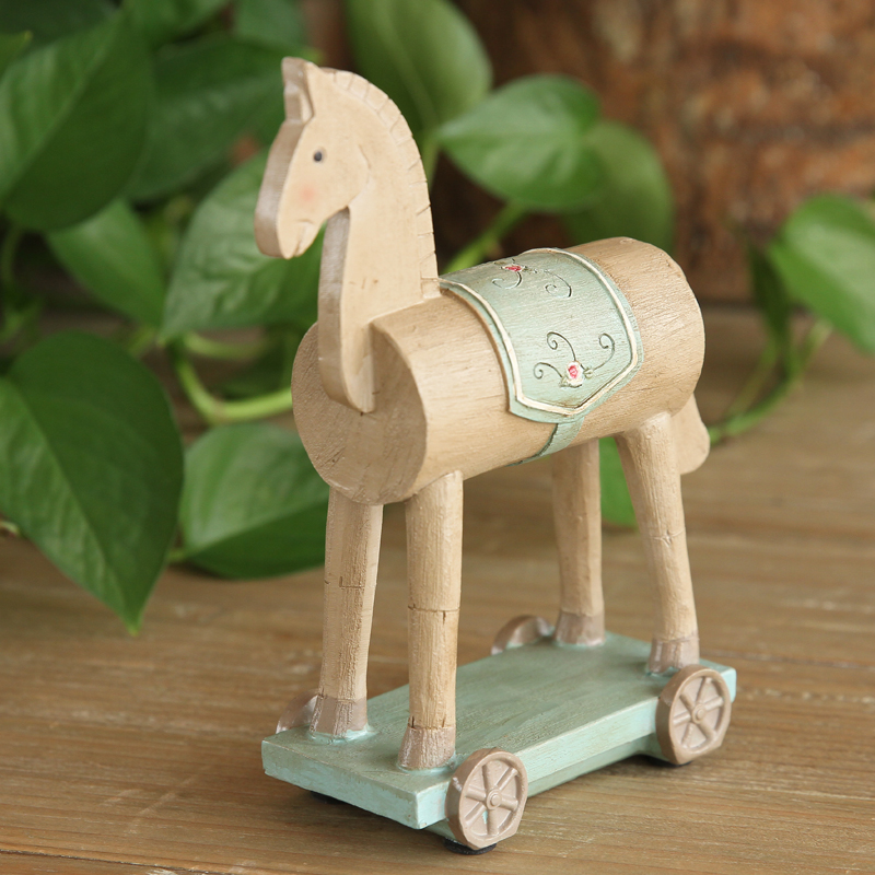 American pastoral village Home Furnishing jewelry room painted horse animal ornaments set Creative Desktop crafts