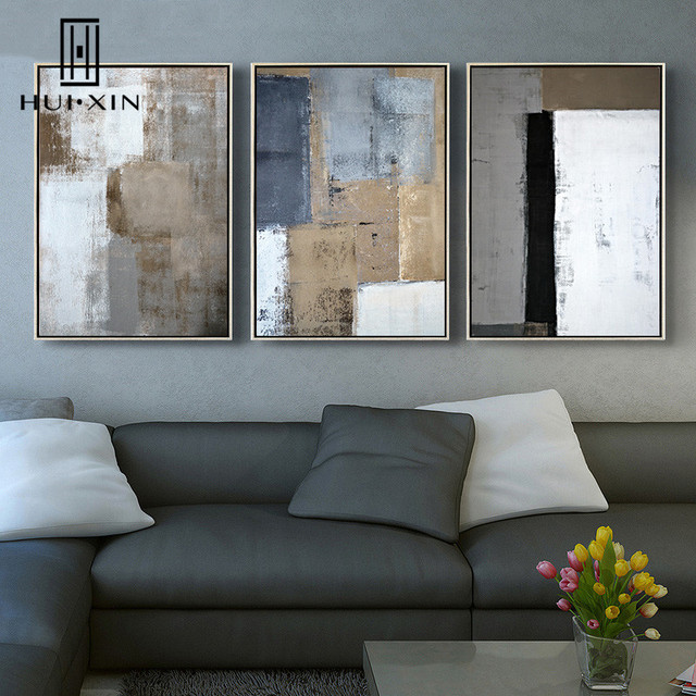 c8f8abebdf8d Nordic Abstract White Blue Brown Black Gray Color Lump Mixed Up Modern  Decorative Pictures For Home Decor Paintings