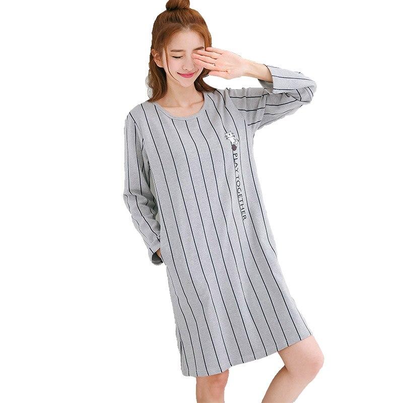 38f27b352f New female cotton nightdress ladies long sleeved sleep dress Spring autumn  Striped nightgown women batas de