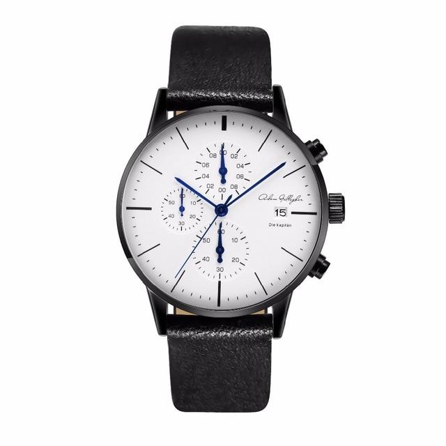 Хронограф Мужские Часы лучший бренд класса люкс кожаный ремень Спортивные кварцевые наручные Часы Многофункциональный наручные часы Адам Галлахер