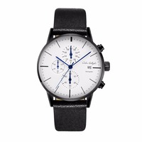 Chronograph Mens Watches Top Brand Luxury Leather Strap Sports Quartz Wrist Watches Multi Function Wristwatch Adam