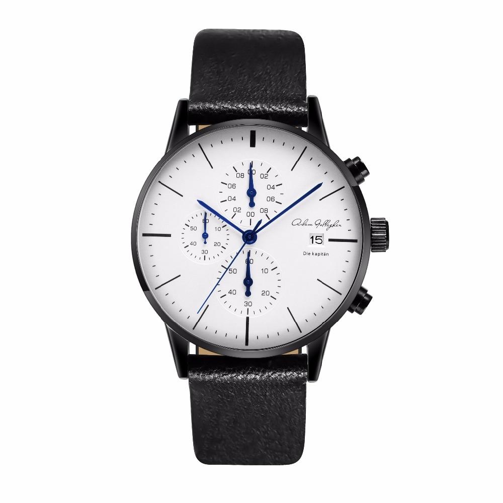 Chronograph Mens Watches Top Brand Luxury Leather Strap Sports Quartz Wrist Watches Multi-function Wristwatch Adam Gallagher
