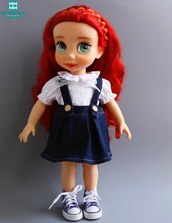 Ruhák a babáknak 40 cm-es Salon Doll Strap farmer szoknya fehér ing, hogy ajándékot adjon a lánynak