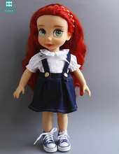 Clothes for dolls fits 40cm Salon Doll Strap denim skirt white shirt to give the girl a gift