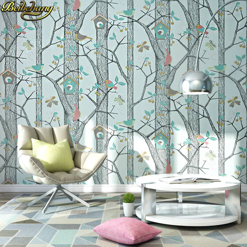 цены beibehang papel de parede Modern and simple leaf murals 3D stereo non-woven wallpaper bedroom living room TV backdrop wallpaper