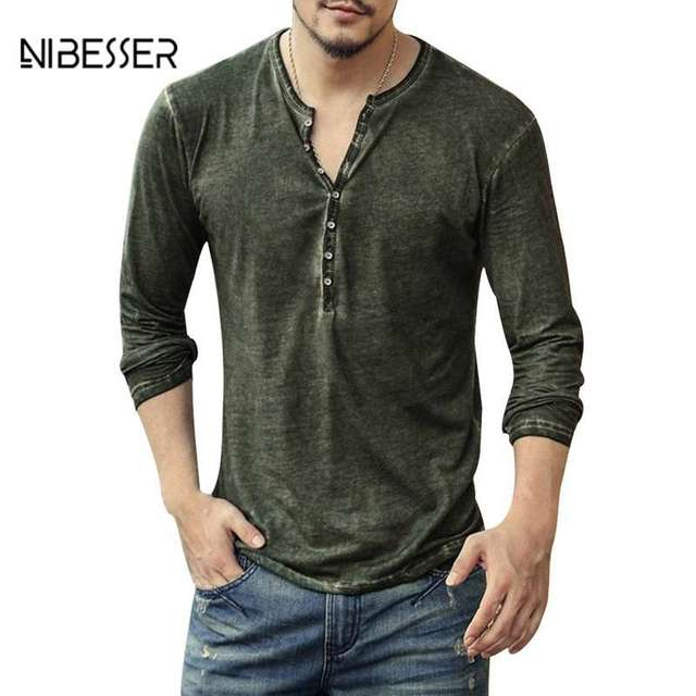 NIBESSER Men's Vintage Long Sleeve T-Shirt Male Small V-neck Open Casual T Shirt Slim Top Tee Shirts Men Spring And Autumn