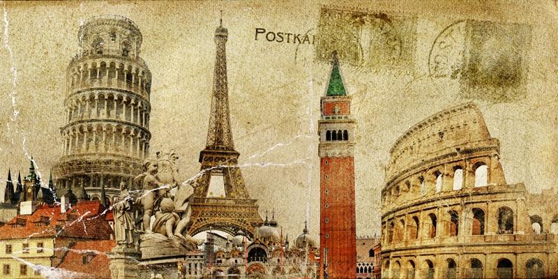 Vintage Imagenes Beige Paris Eiffel Tower Roses Vintage Fabric - Vintage-imagenes