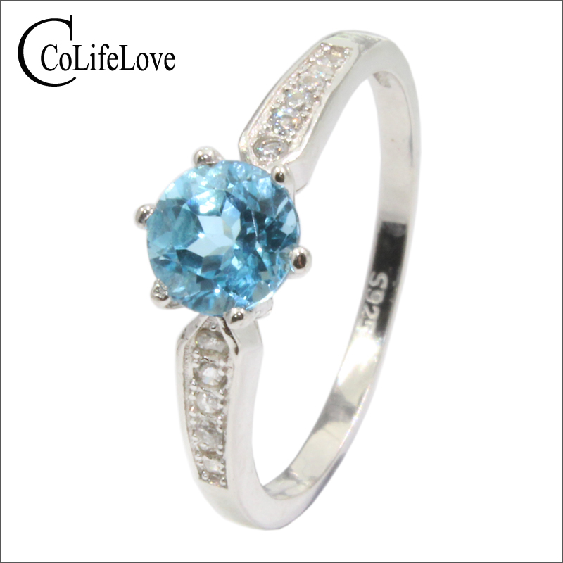 VVS light blue topaz engagement ring 6 mm brilliant round natural topaz ring sterling silver topaz jewelry romantic gift