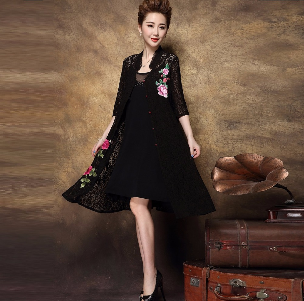 2017 Summer Women Plus size floral embroidery Dress twinset stand ...