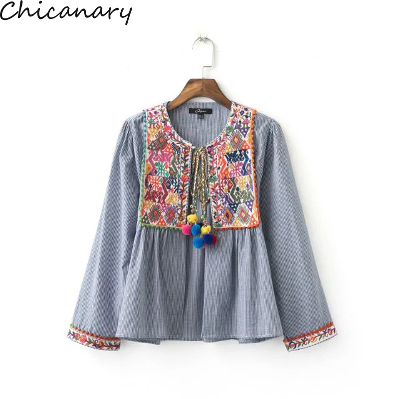 Ethnic Striped Print Geometric Embroidery Shirt 2016 Summer Strappy Ball Tassel Cardigan Blouse Tops Blusas Chemise