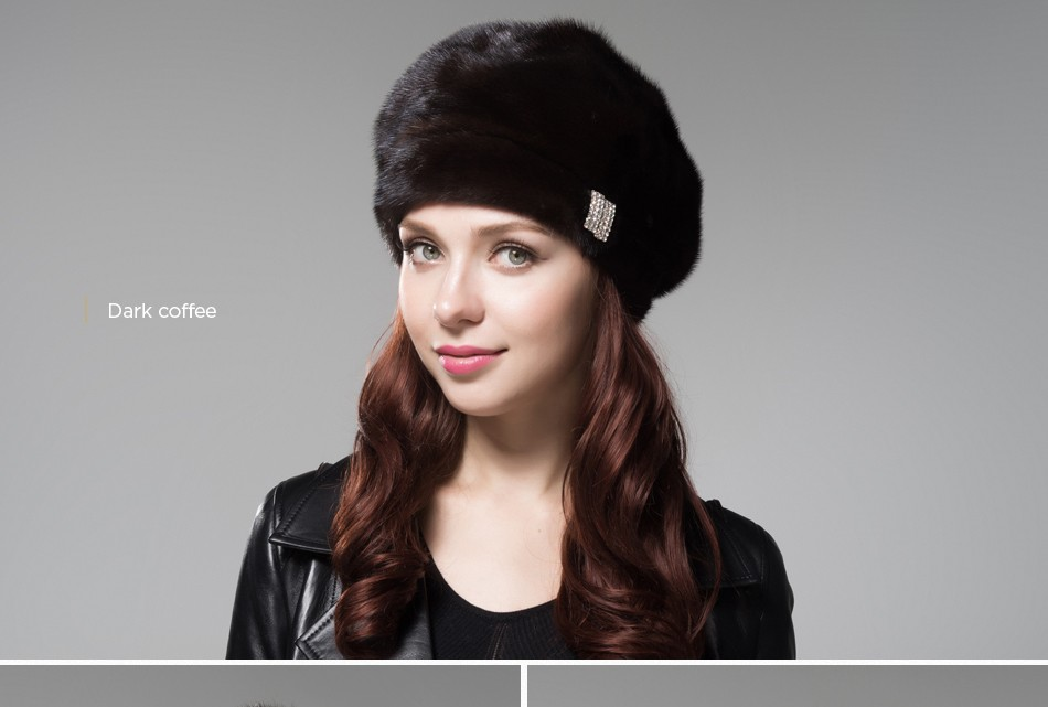 mink fur hat female winter PCM027 (13)