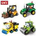 Qwz city series rolo compactador empilhadeira caminhão trator caminhão da vassoura modelo blocos de construção diy brinquedos educativos montados tijolos de brinquedo crianças