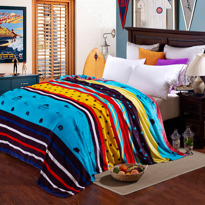 Euro Style Flannel Sofa Throw Blanket for Kids Adult blue yellow Bed Blankets Cover twin Full Queen King cartoon Bed Sheet rug