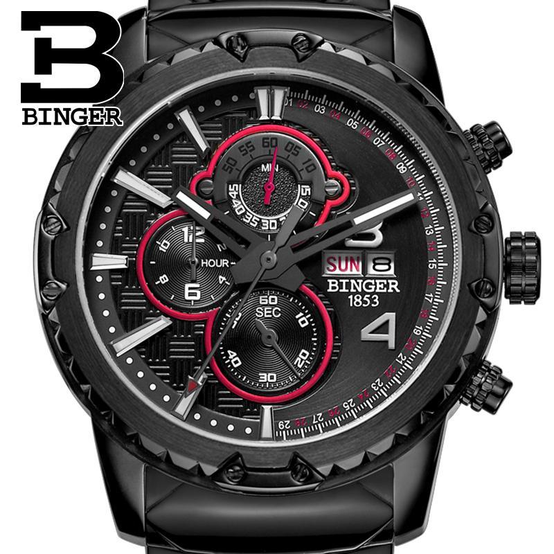 Switzerland font b watches b font men luxury brand clock BINGER quartz men s font b