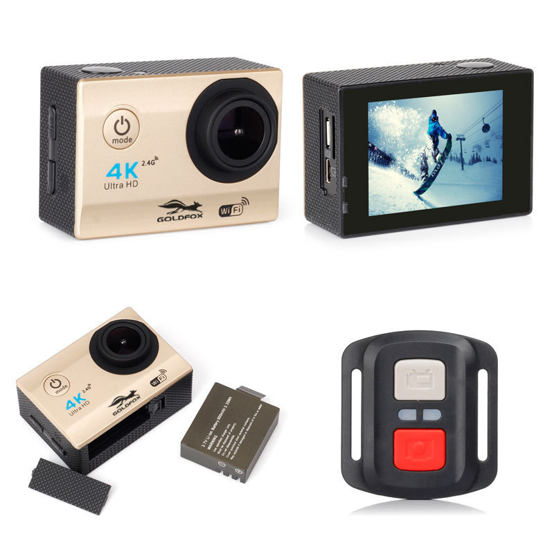 4K Wifi Action Sports Camera Go Waterproof Pro DVR DV Video Recorder with Remote Control H16R 2 inch Touch Screen Helmet Camera