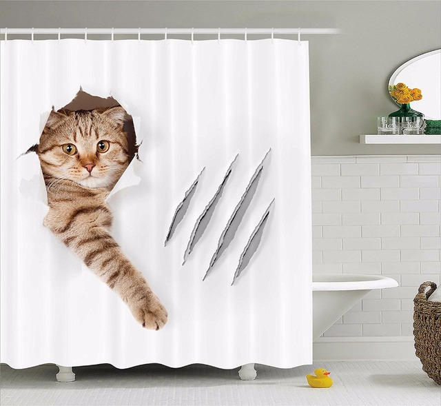 High Quality Arts Shower Curtains Funny Cat In Wallpaper Hole With Claw Scratches Playful Kitten Cute